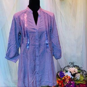 Love Stitch Purple Button Down Sequin 3/4 Tunic
